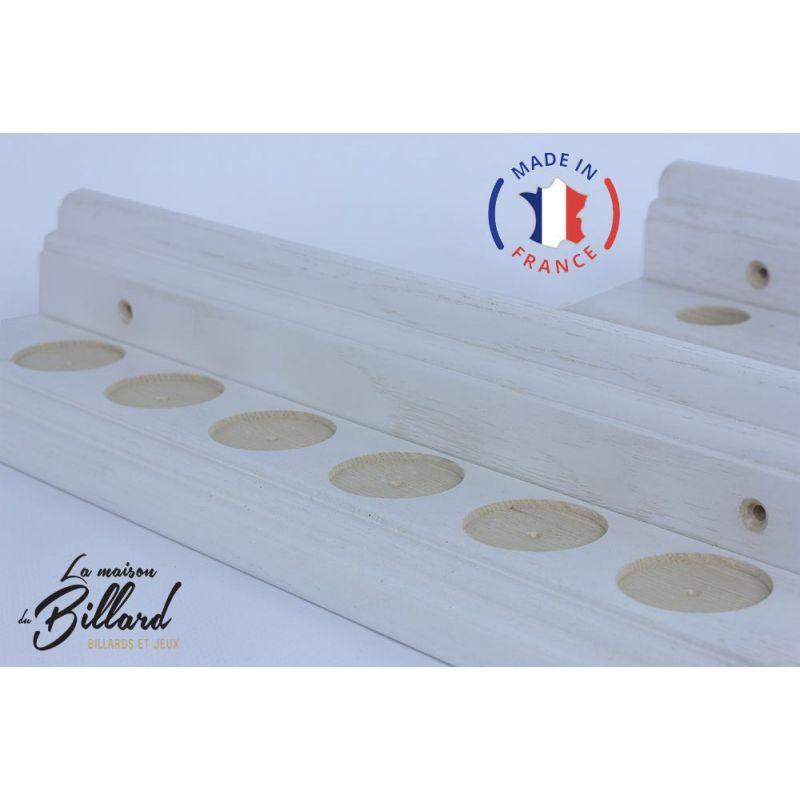 Porte queues billard blanc et bois