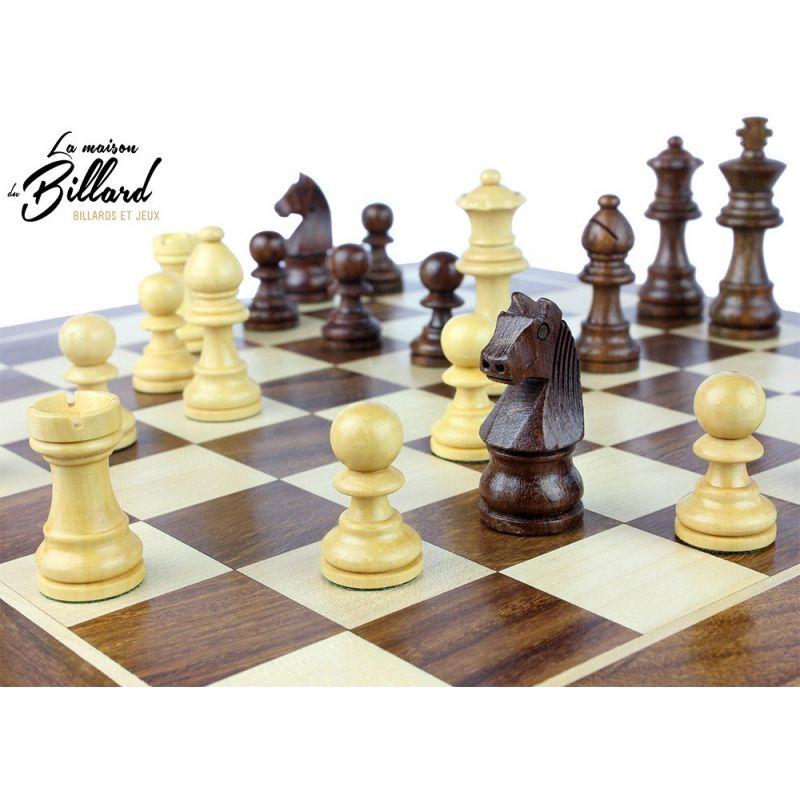 pièces jeu échecs en buis et palissandre