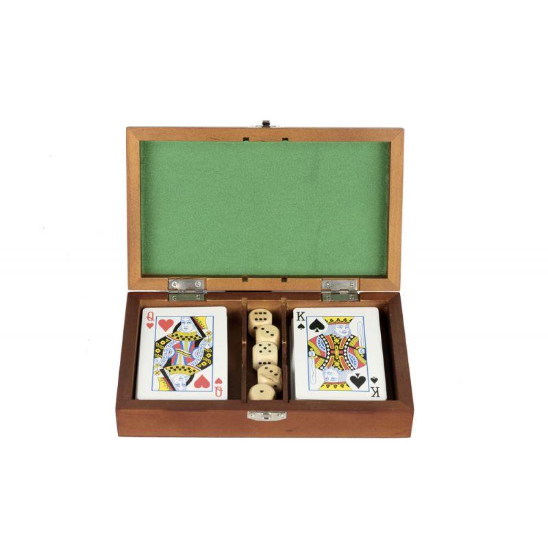 Boitier bois jeux de cartes