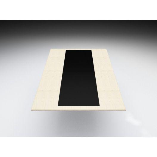 Plateau de table CV bord à bord, partie centrale en verre