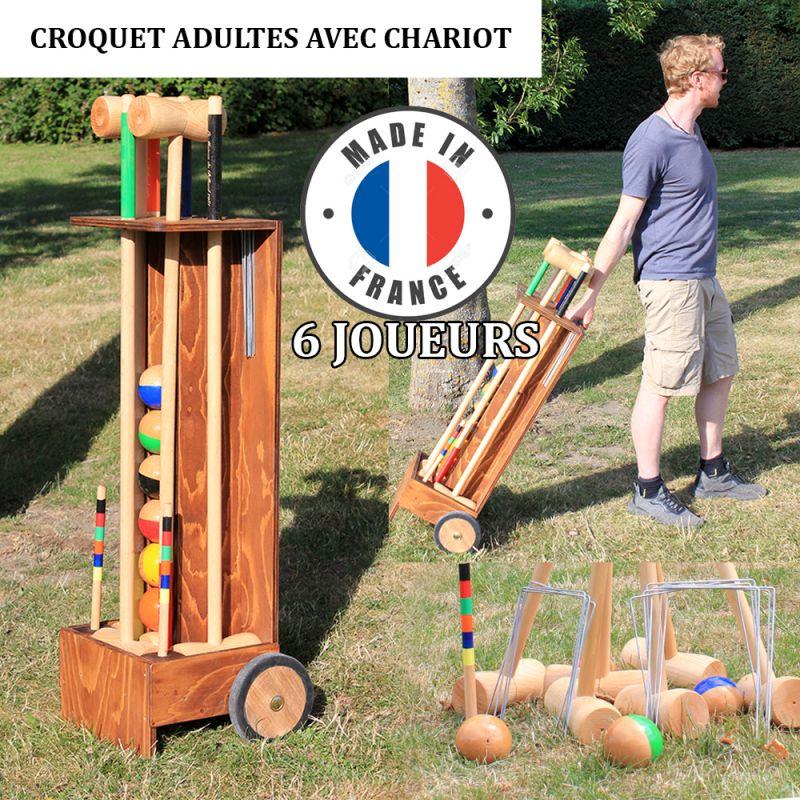 Jeu croquet chariot 6 joueurs adultes