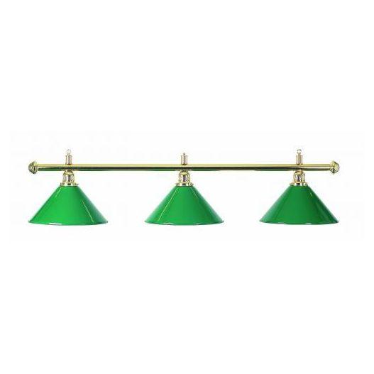Luminaire 3 globes métal vert barre laiton
