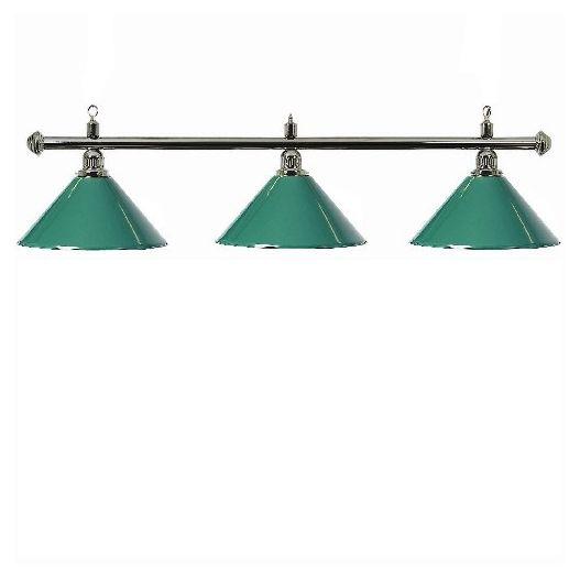 Luminaire 3 globes métal vert barre chrome