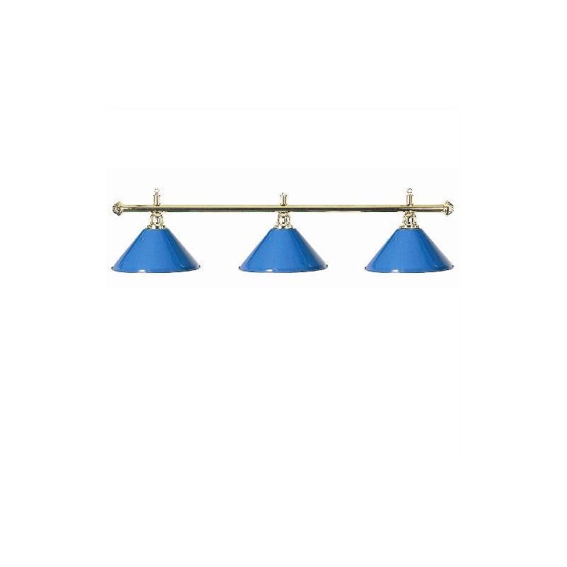 Luminaire 3 globes métal bleu barre laiton