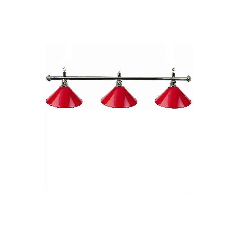 Luminaire 3 globes métal rouge barre chrome