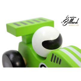jouet en bois enfant : La Voiture de course verte en bois