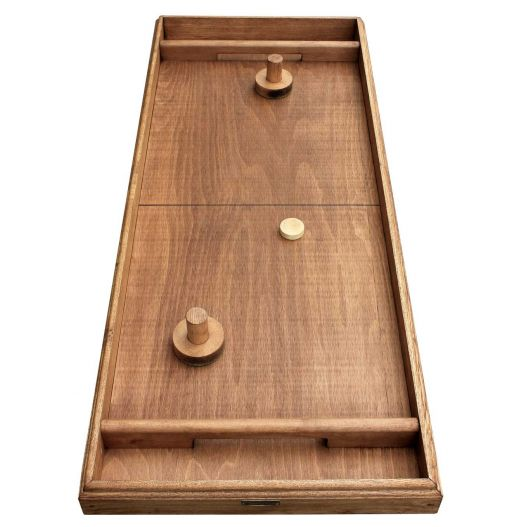 Air hockey en bois : table à glisser artisanale un jouet 100 % en bois