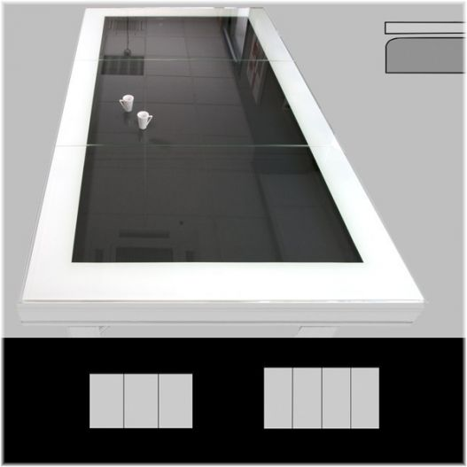 Plateau table VR bord à bord en verre