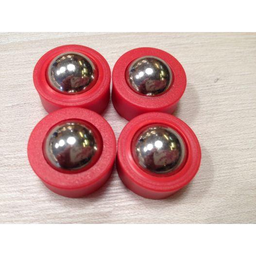 Lot de 4 billes de curling rouge