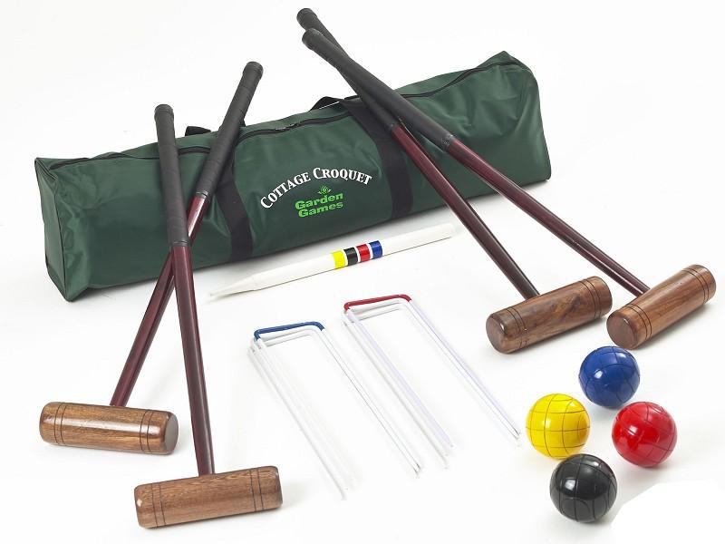 Jeu de croquet en bois Enfants  Adultes avec Chariot en bois ~ Jeux De Croquet En Bois