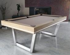 Billard table finition chêne vieillie pieds inox brossé. La Maison du Billard Spécialiste dans la vente de table de billard