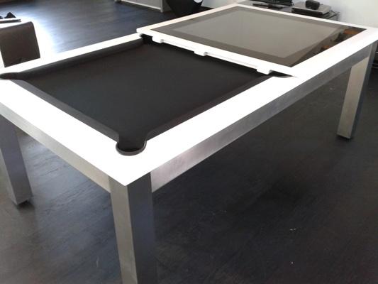 billard Steel Tendance Inox brossé, tapis noir et plateau table verre