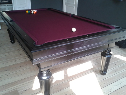 Billard Tradition style Louis XVI noir  tapis wine